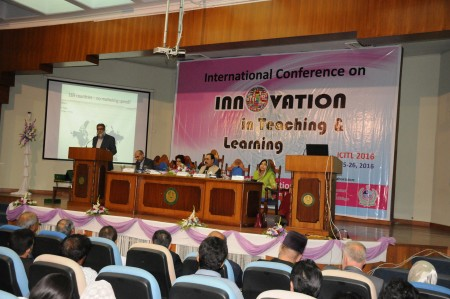 Dr. Masoom addressing on Innovation inTeaching and Learnign Conference at IIUI
