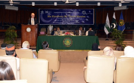 Mr. Carlos Morales Ambassador of Kingdom of Spain to Pakistan addressing a lecture organized by Islamic Research Institute (IRI), International Islamic University Islamabad (IIUI).
