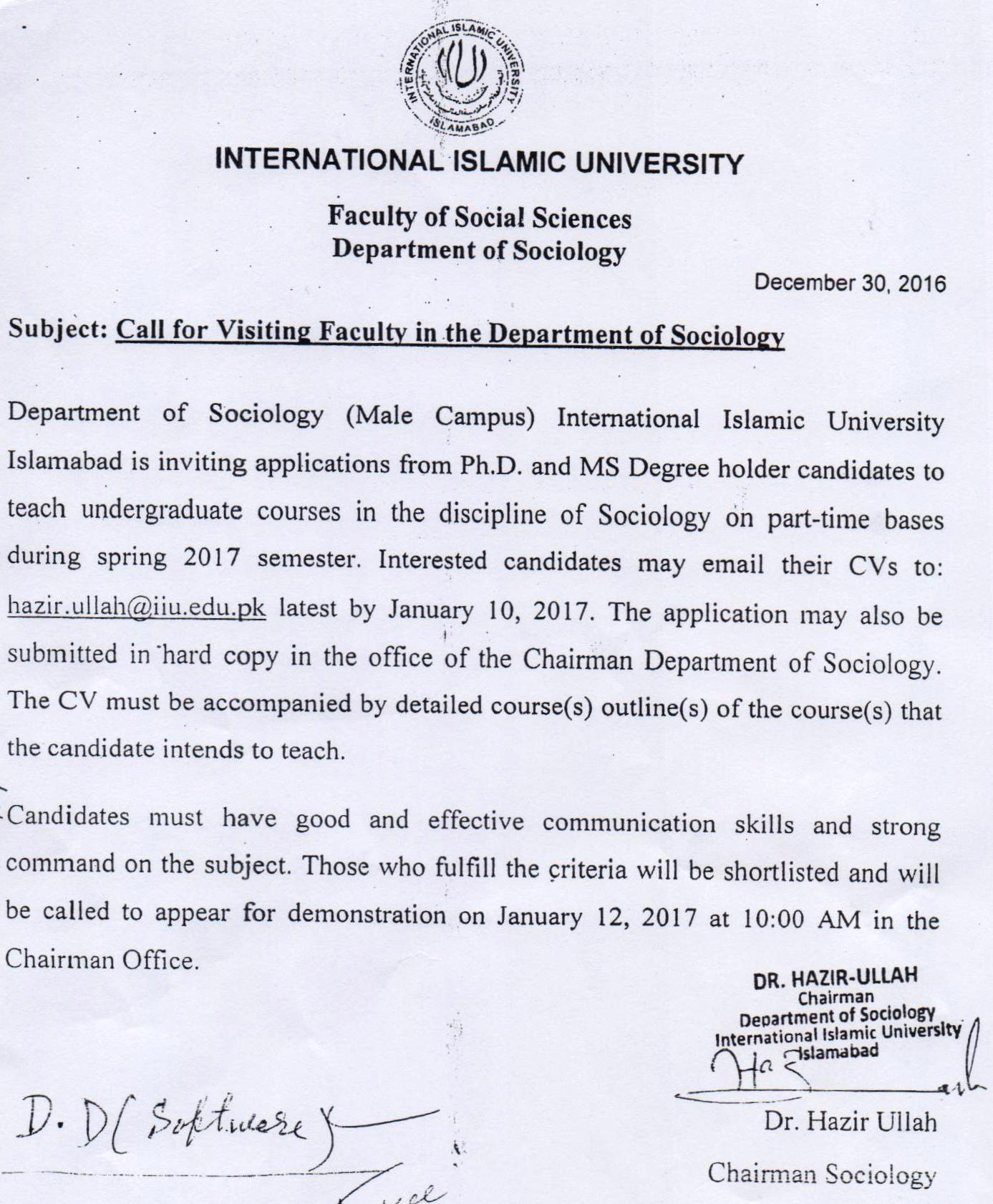 university jobs international islamic university ing faculty male department of sociology