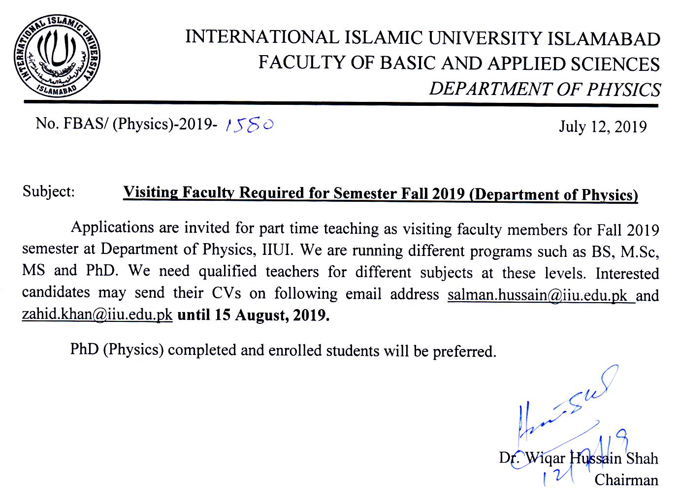 University Jobs – Visiting Faculty | International Islamic
