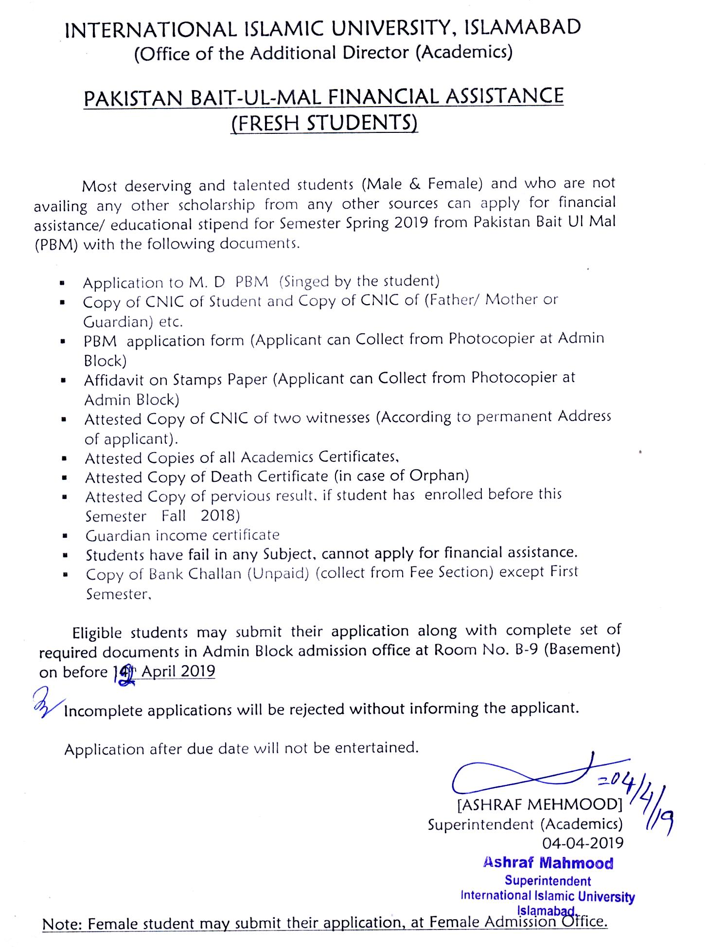 Scholarships | International Islamic University