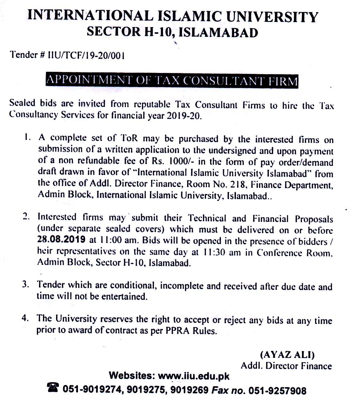 Tenders   International Islamic University